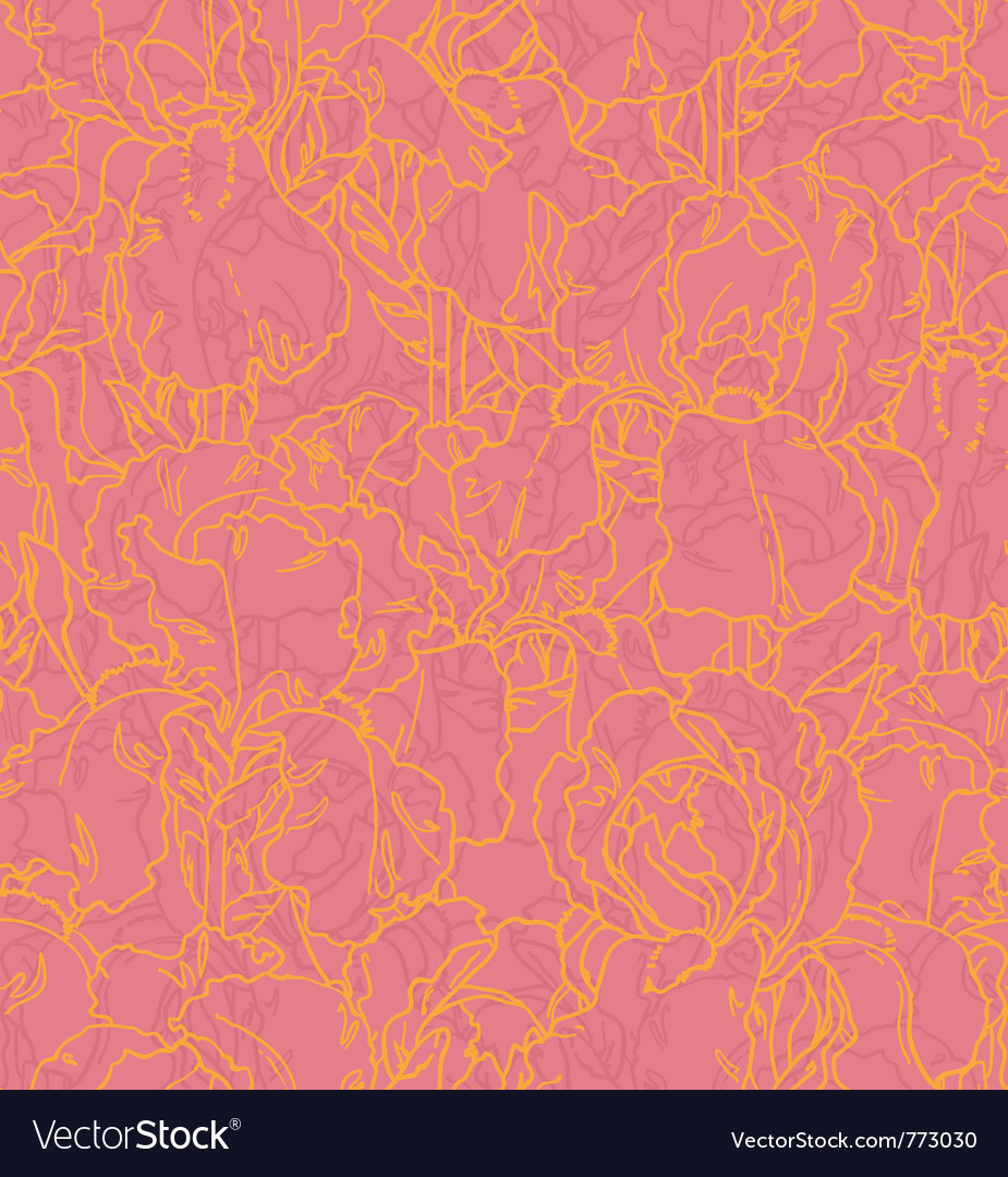 Seamless pattern with outlined irises vector | Price: 1 Credit (USD $1)