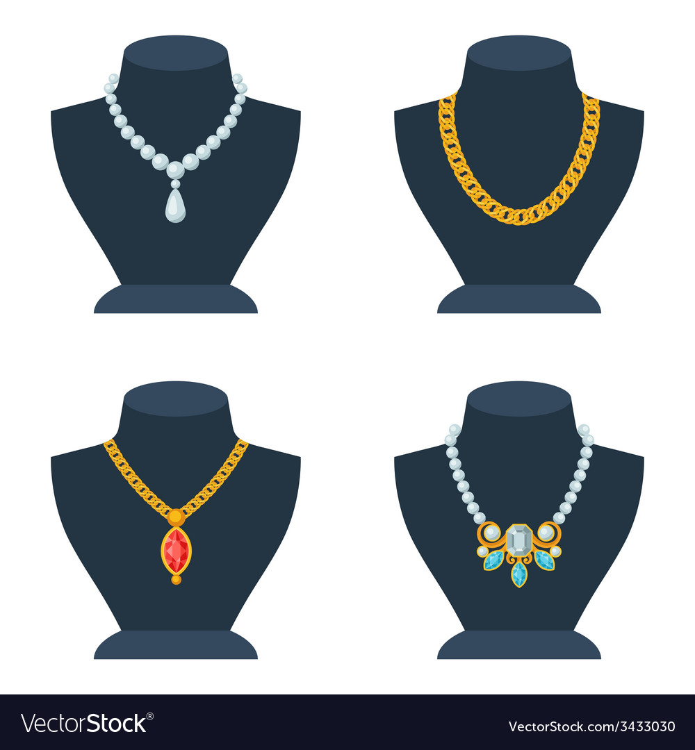 Set of store mannequins for jewelry shop vector | Price: 1 Credit (USD $1)
