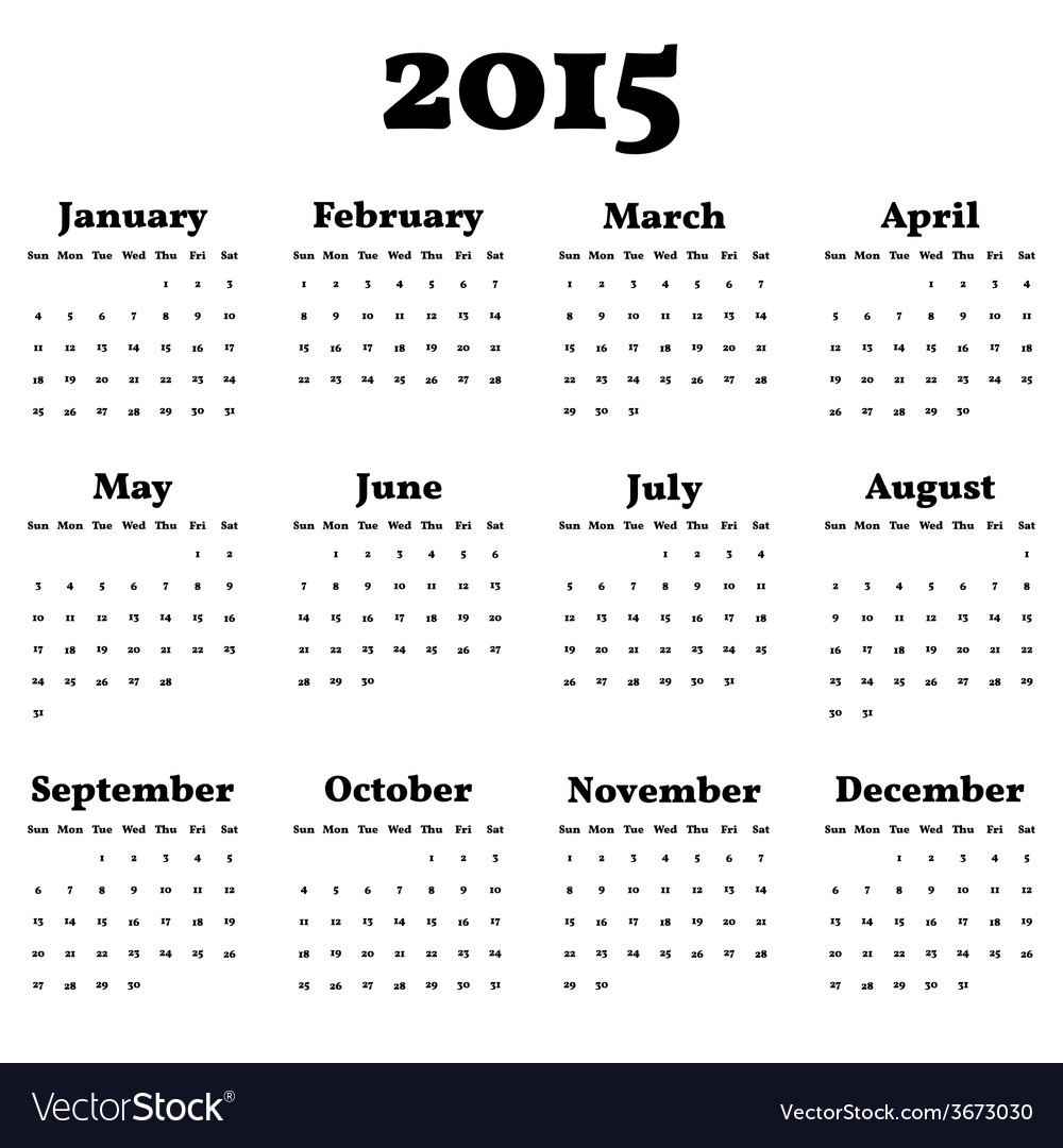 Simply classic calendar for 2015 year background vector | Price: 1 Credit (USD $1)