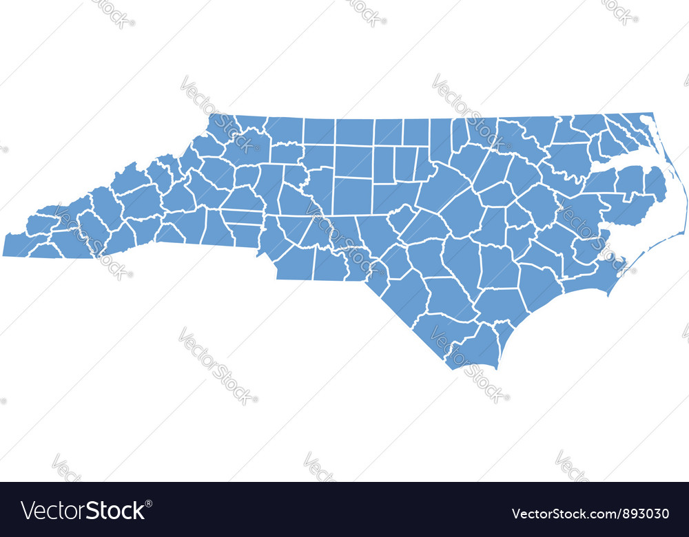 State map of north carolina by counties vector | Price: 1 Credit (USD $1)