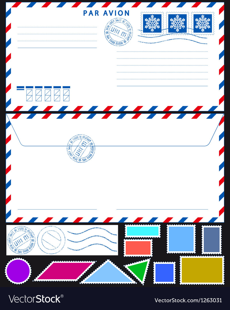 Airmail envelope and stamps set vector | Price: 1 Credit (USD $1)