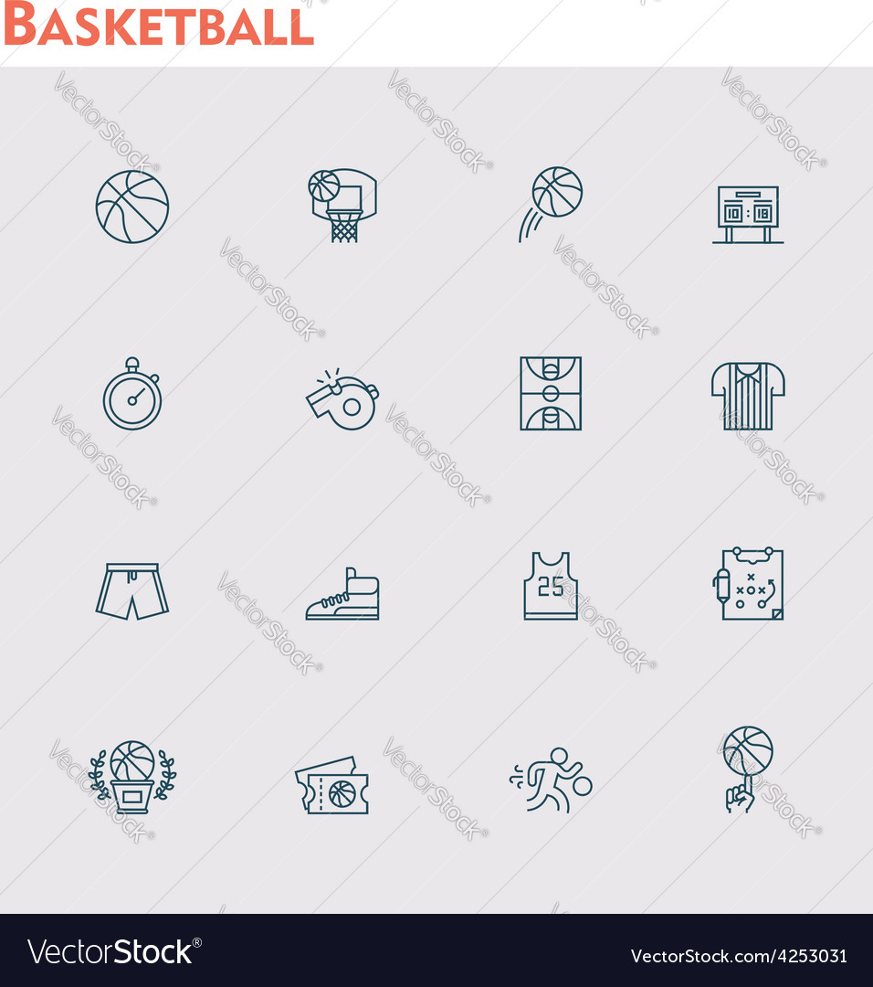 Basketball icon set vector | Price: 1 Credit (USD $1)