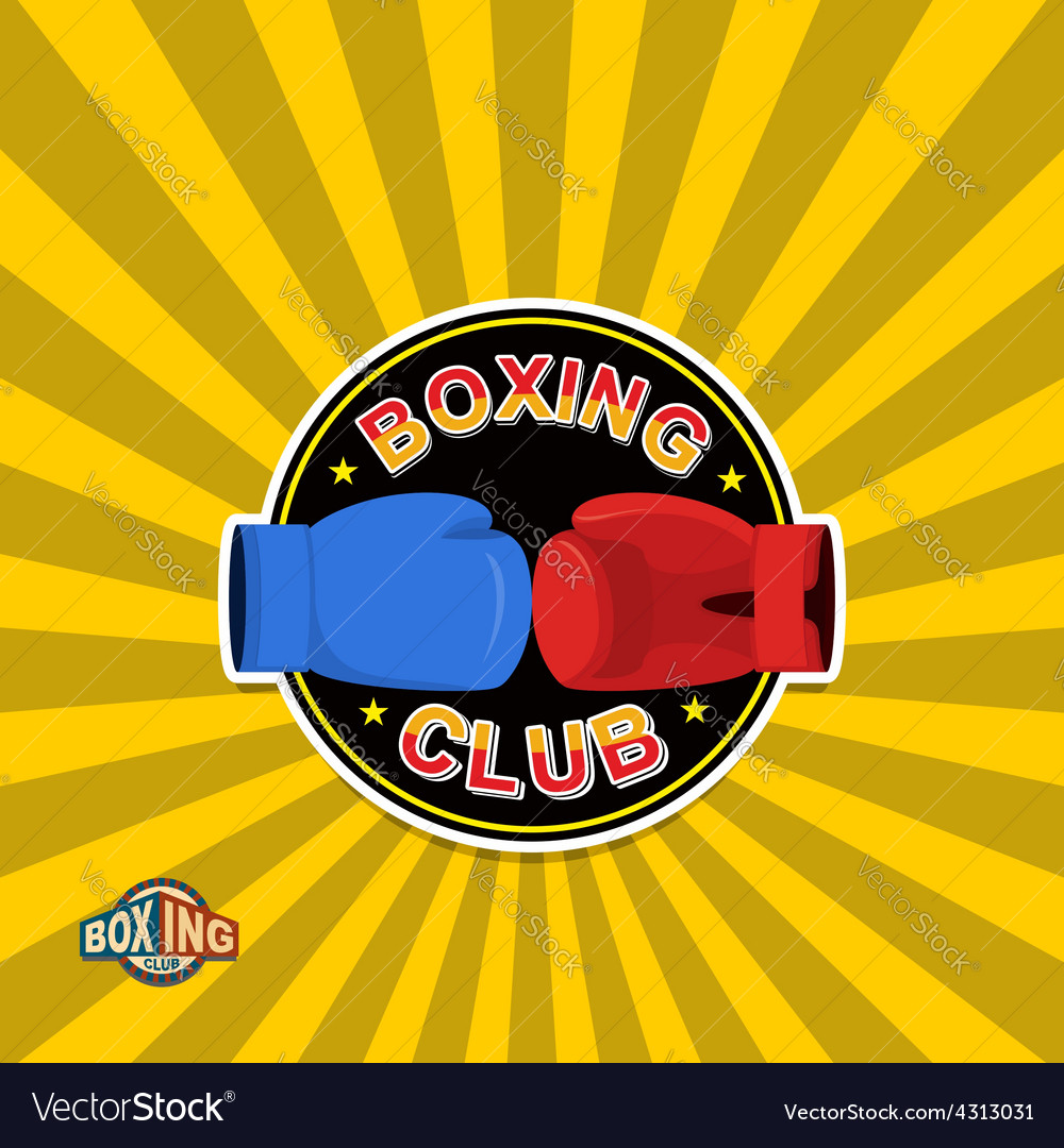 Boxing labels boxing gloves emblem club vector | Price: 1 Credit (USD $1)