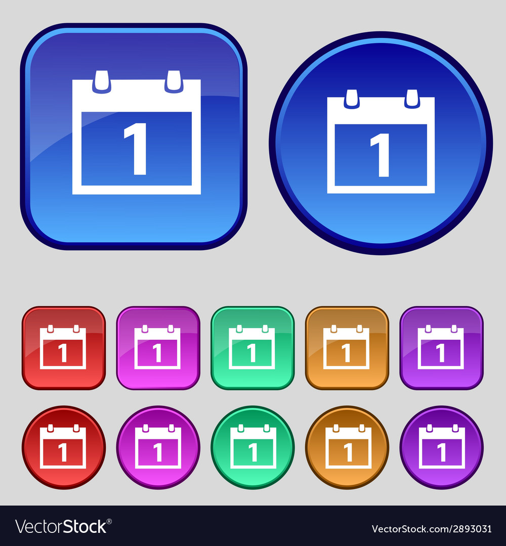 Calendar sign icon 1 day month symbol date button vector | Price: 1 Credit (USD $1)
