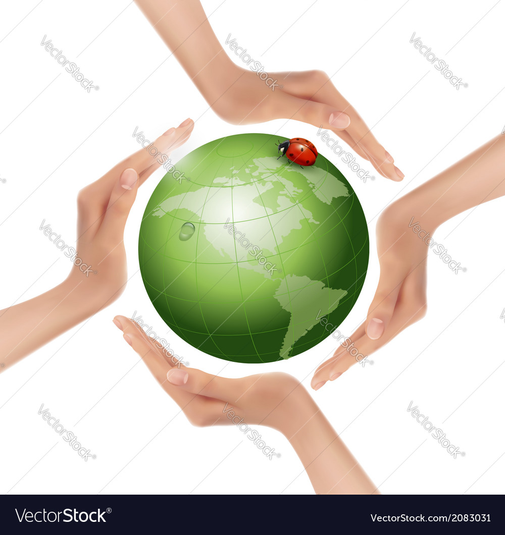 Hands holding a green earth with a ladybug vector | Price: 1 Credit (USD $1)