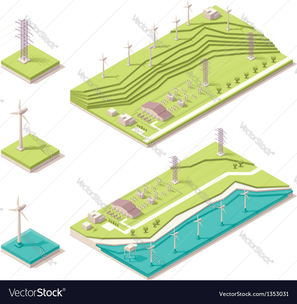 Isometric wind farm vector | Price: 3 Credit (USD $3)