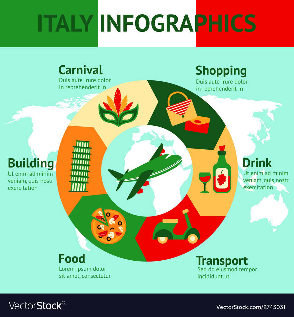 Italy travel infographics vector | Price: 1 Credit (USD $1)