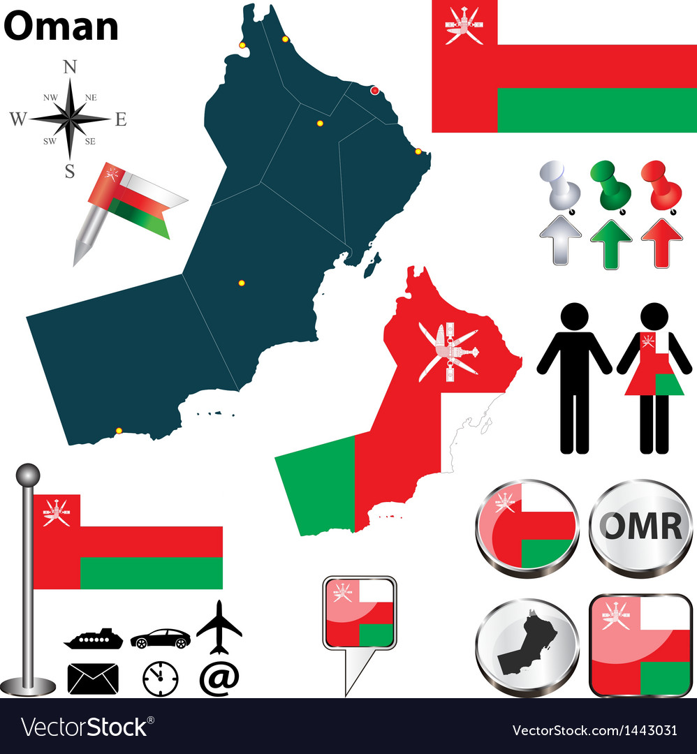 Map of oman vector | Price: 1 Credit (USD $1)