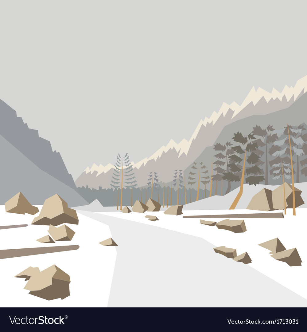 Mountain winter landscape vector | Price: 1 Credit (USD $1)