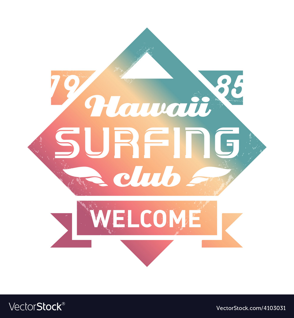 Prhawaii surfing club vintage label with waves vector | Price: 1 Credit (USD $1)