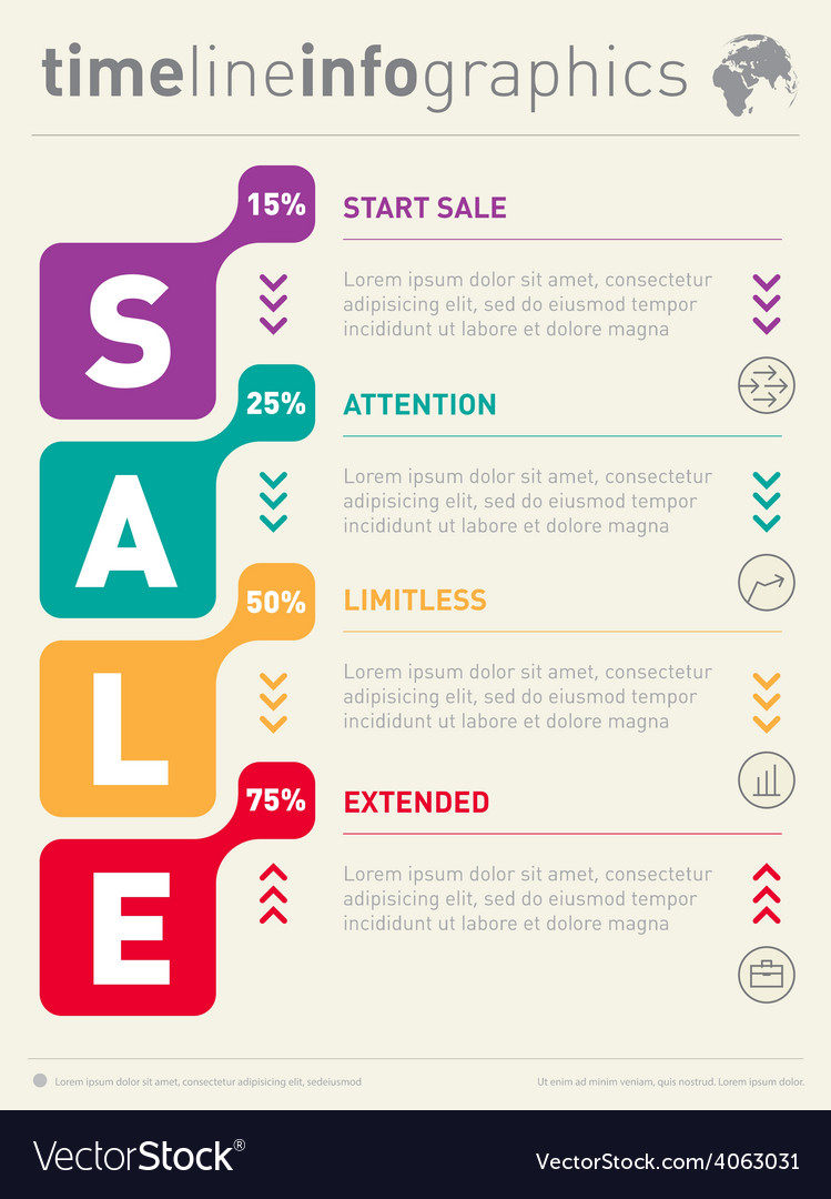 Sale info graphic time line business web template vector   Price: 1 Credit (USD $1)