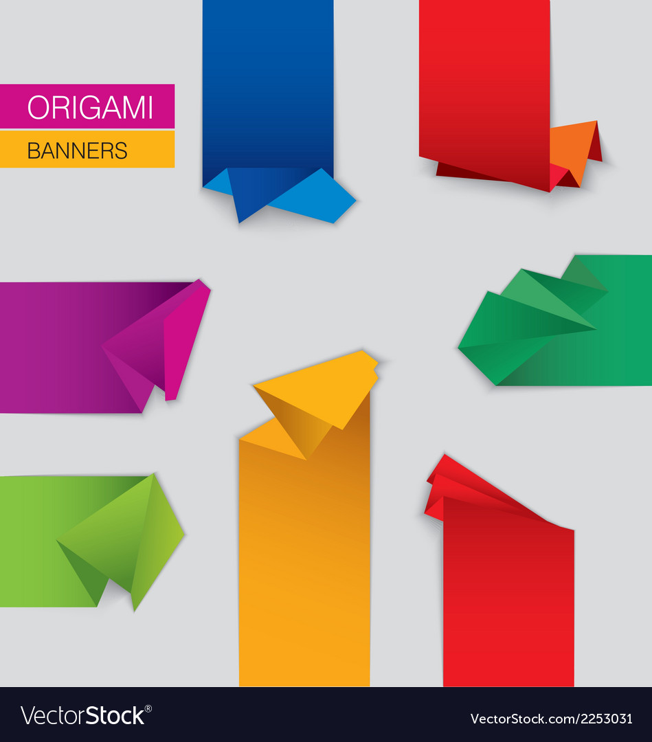 Set of origami banners vector | Price: 1 Credit (USD $1)
