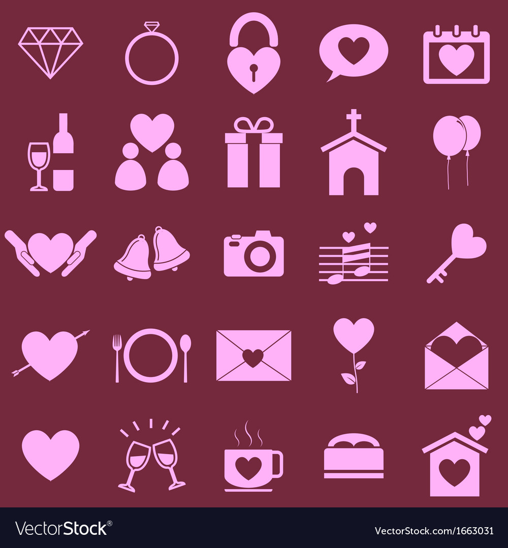 Wedding color icons on pink background vector | Price: 1 Credit (USD $1)