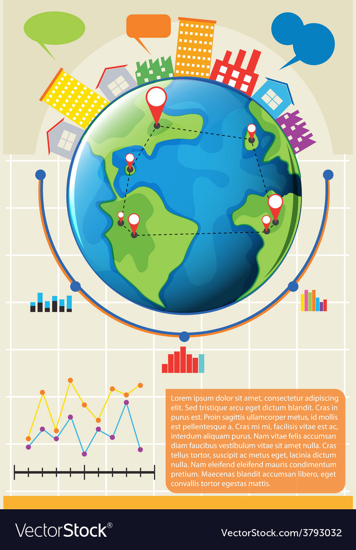 An infographics showing the globe vector | Price: 1 Credit (USD $1)