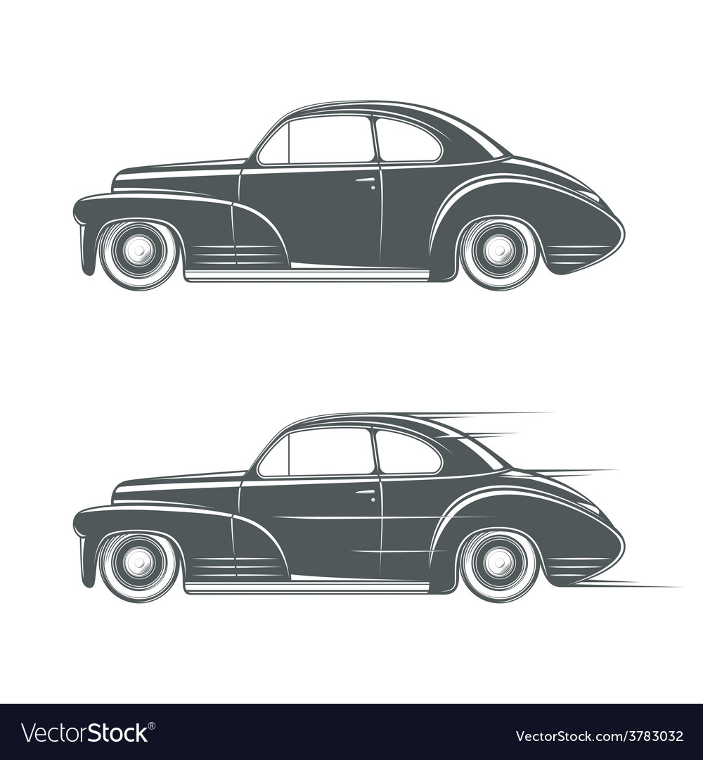 Black and white classic car icon vector | Price: 1 Credit (USD $1)