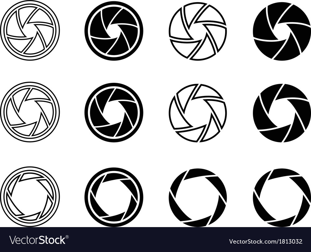 Camera shutter aperture icons vector | Price: 1 Credit (USD $1)