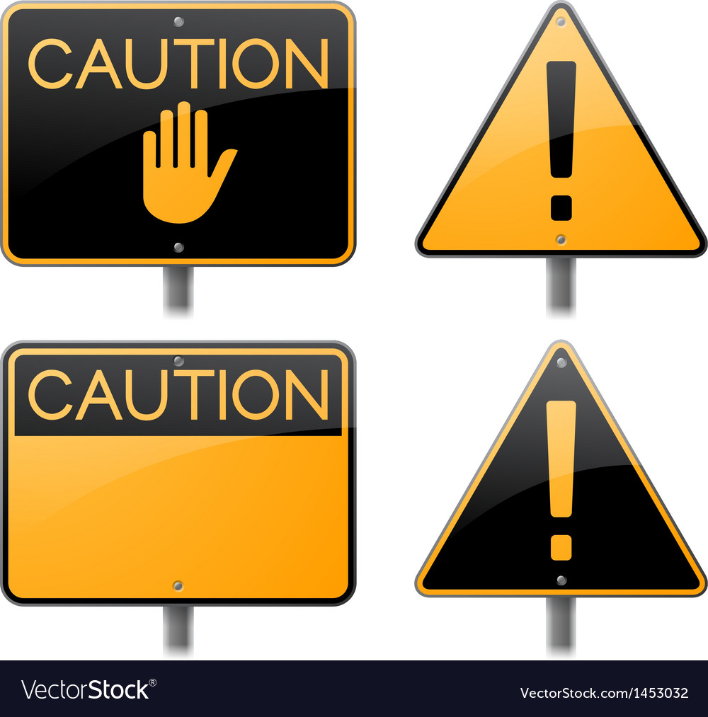 Caution and warning signs vector | Price: 1 Credit (USD $1)