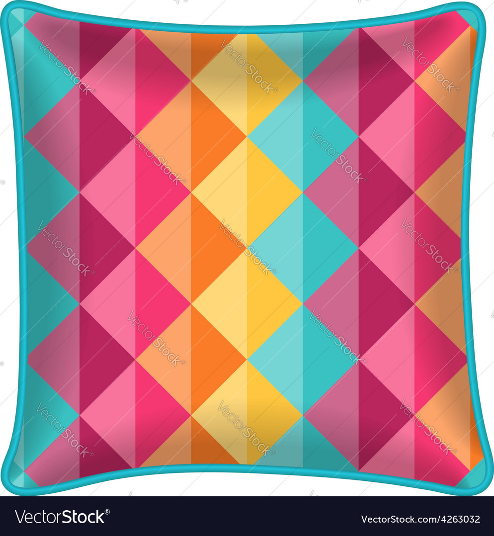 Decorative throw pillow with patterned pillowcase vector | Price: 1 Credit (USD $1)