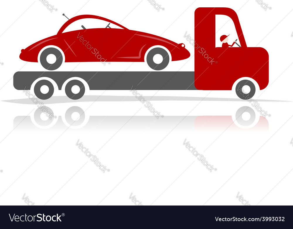 Evacuator with car for your design vector | Price: 1 Credit (USD $1)