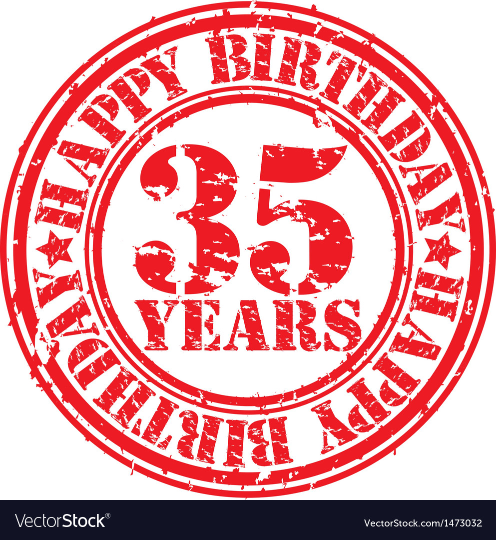 Grunge 35 years happy birthday rubber stamp vector | Price: 1 Credit (USD $1)