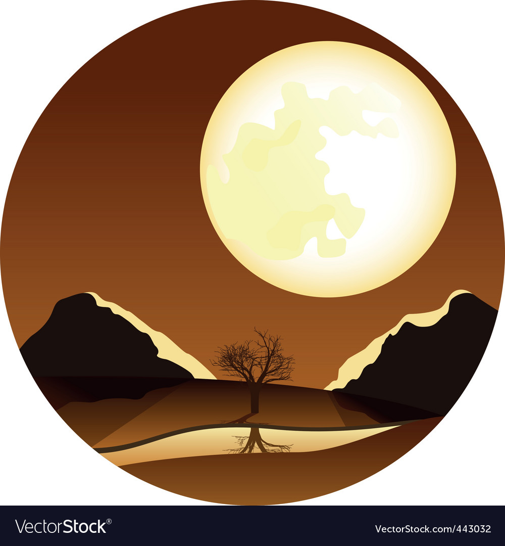 Landscape with moon vector | Price: 1 Credit (USD $1)