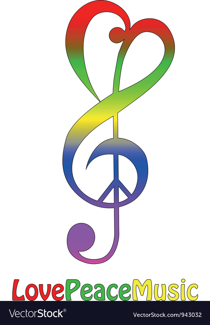 Love peace and music isolated on white vector | Price: 1 Credit (USD $1)