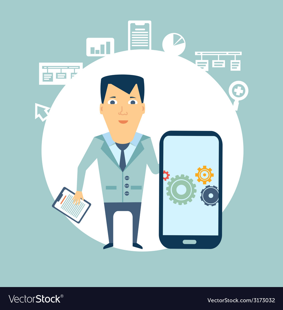 Programmer works in a mobile phone vector | Price: 1 Credit (USD $1)