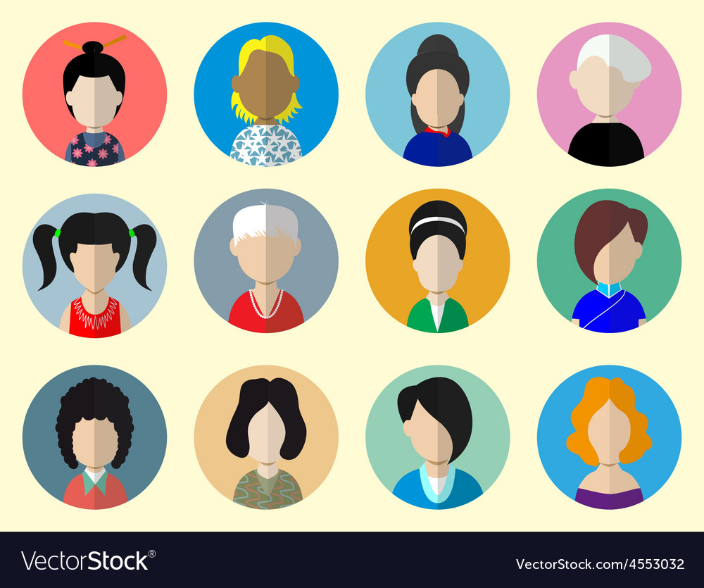 Set of circle flat icons with women vector