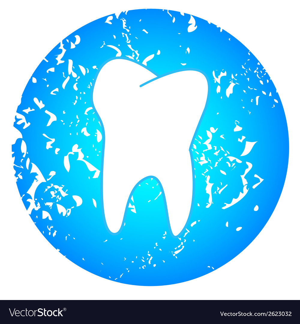 Tooth on a blue background vector | Price: 1 Credit (USD $1)