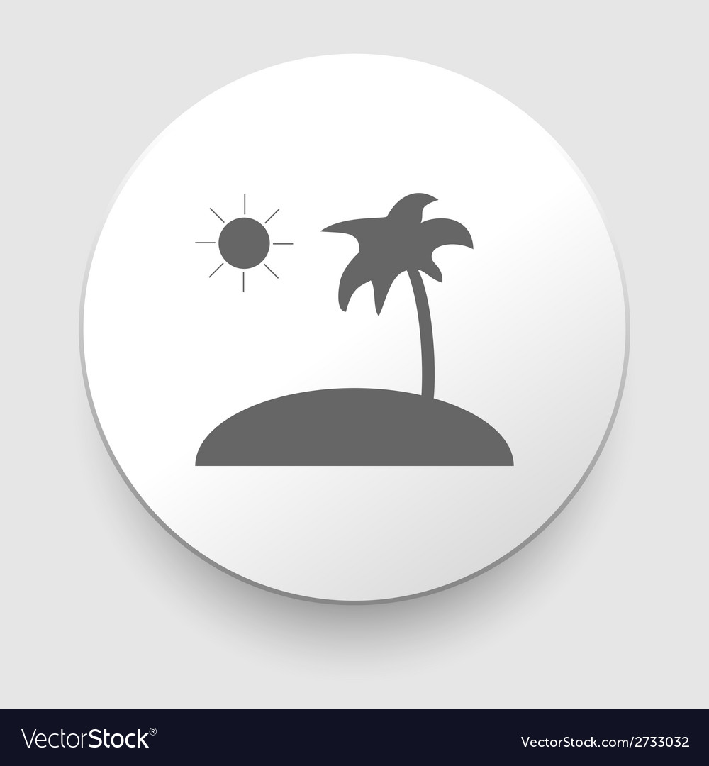 Tropical sea small island - icon isolated vector | Price: 1 Credit (USD $1)