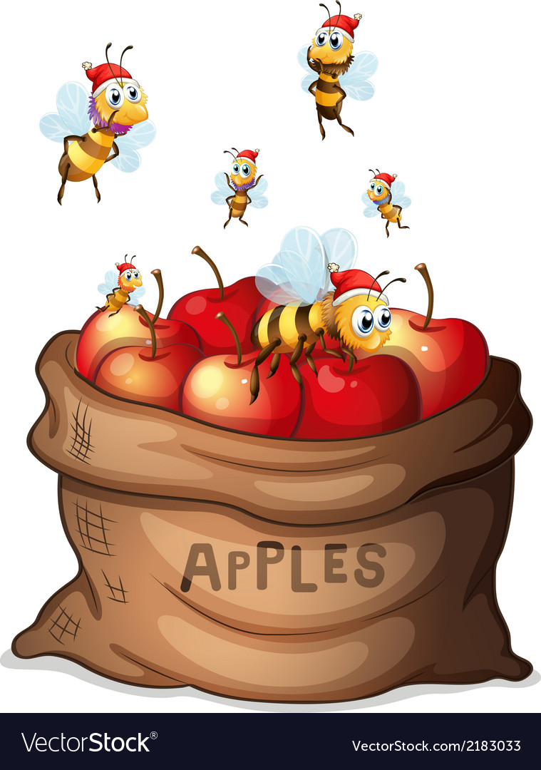 A sack of apple with bees vector | Price: 1 Credit (USD $1)