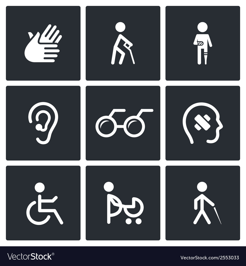 Disability icons set vector | Price: 1 Credit (USD $1)