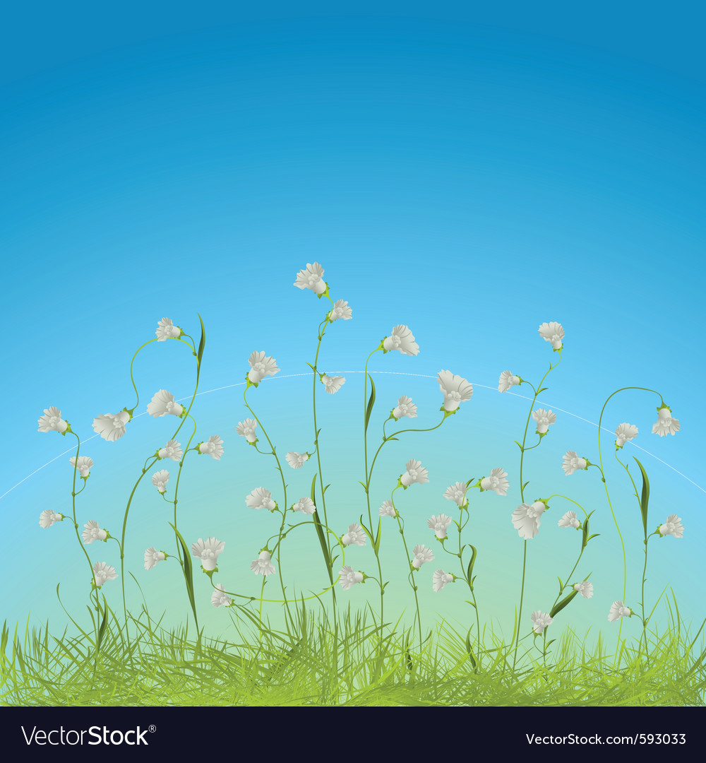 Flowers and grass vector | Price: 1 Credit (USD $1)