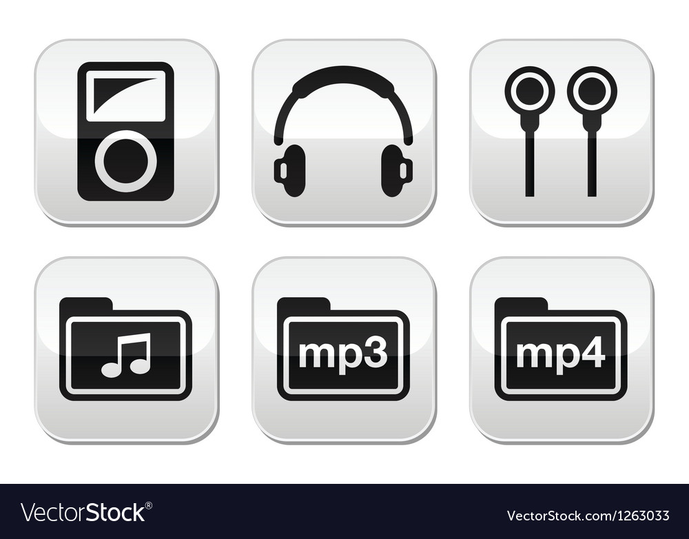 Mp3 player button set vector | Price: 1 Credit (USD $1)