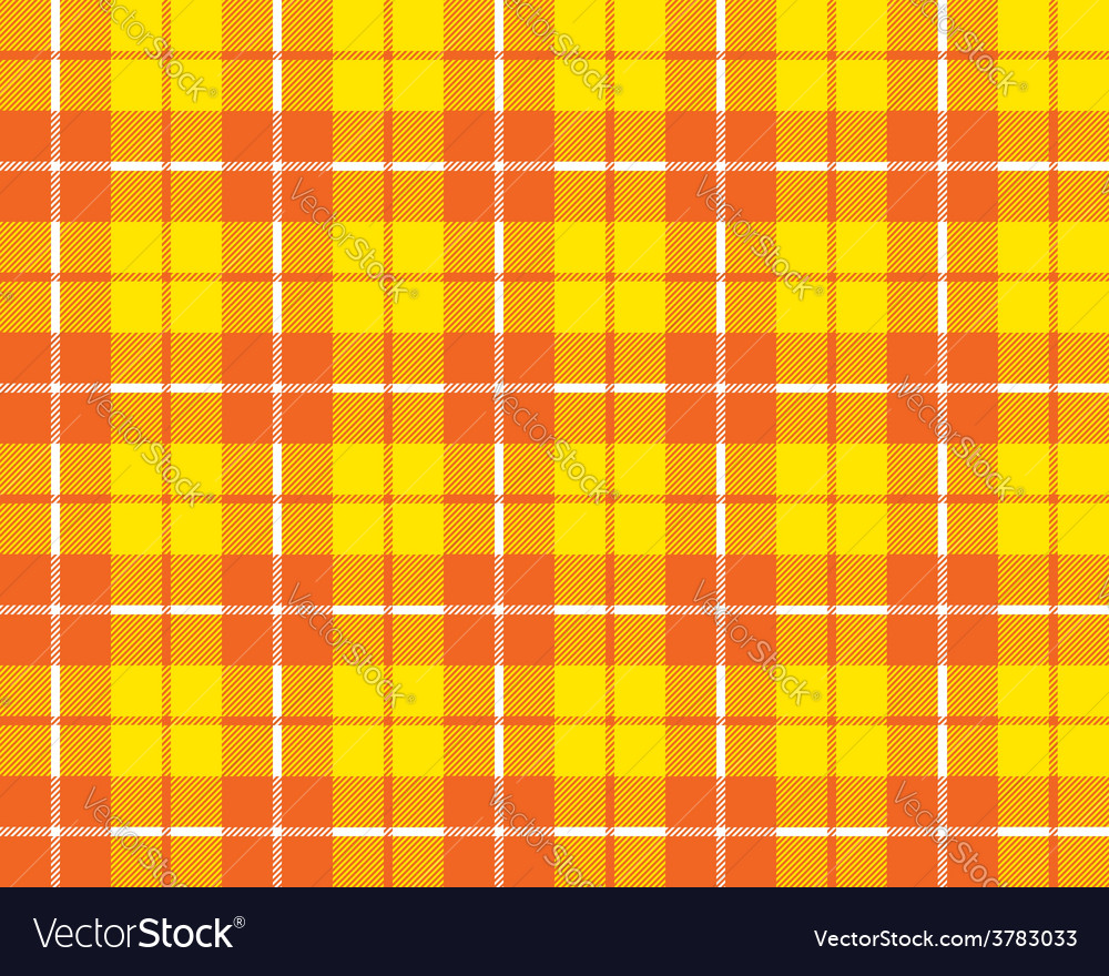 Orange yellow tartan fabric texture pattern vector | Price: 1 Credit (USD $1)