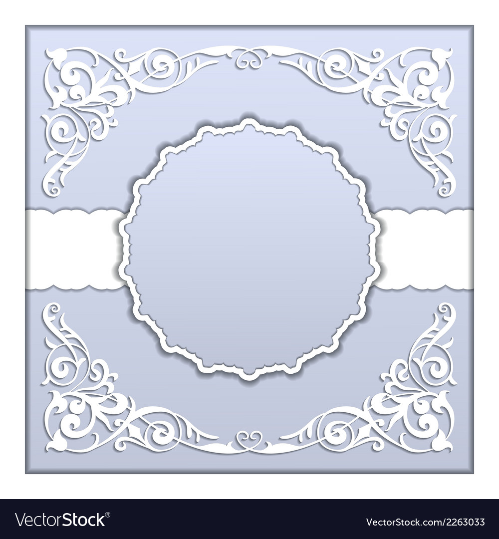 Paper frame with lace ornament vector | Price: 1 Credit (USD $1)