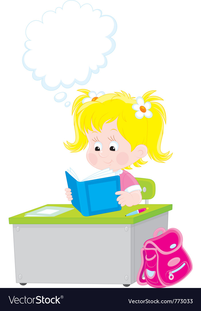 Schoolgirl reading a textbook vector | Price: 3 Credit (USD $3)