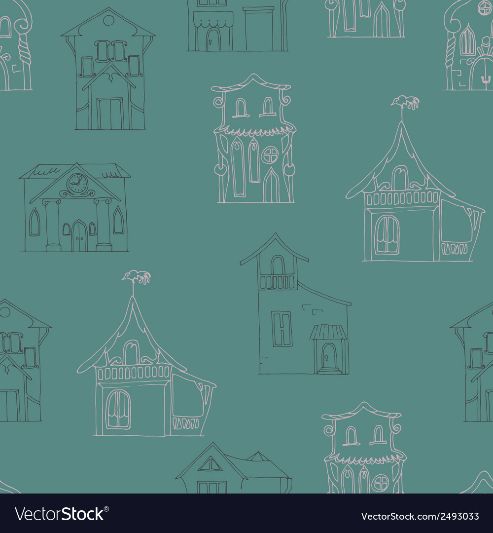 Seamless pattern with hand-drawn houses vector | Price: 1 Credit (USD $1)