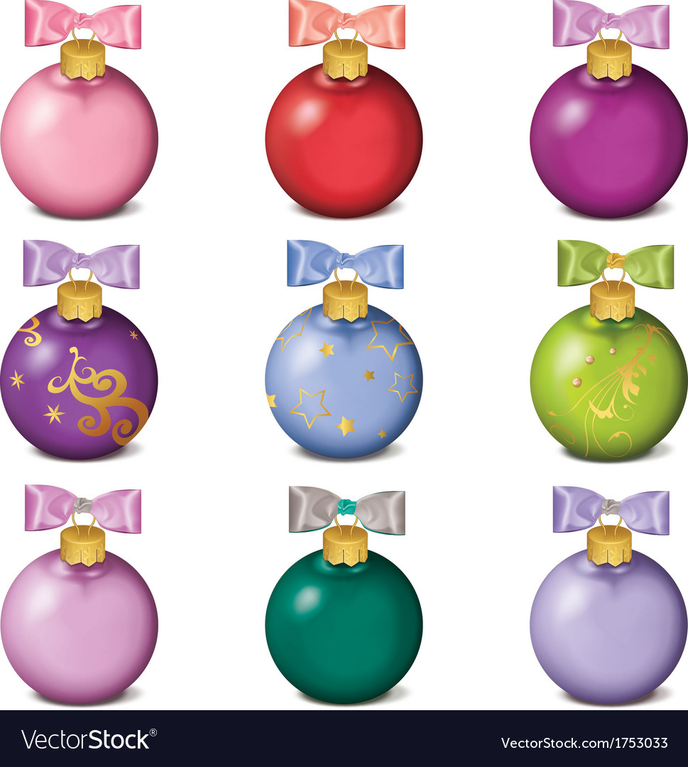 Set of colorful christmas balls isolated on white vector | Price: 1 Credit (USD $1)