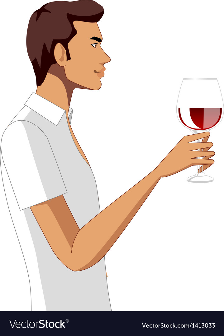 Side view of man holding wineglass vector | Price: 3 Credit (USD $3)