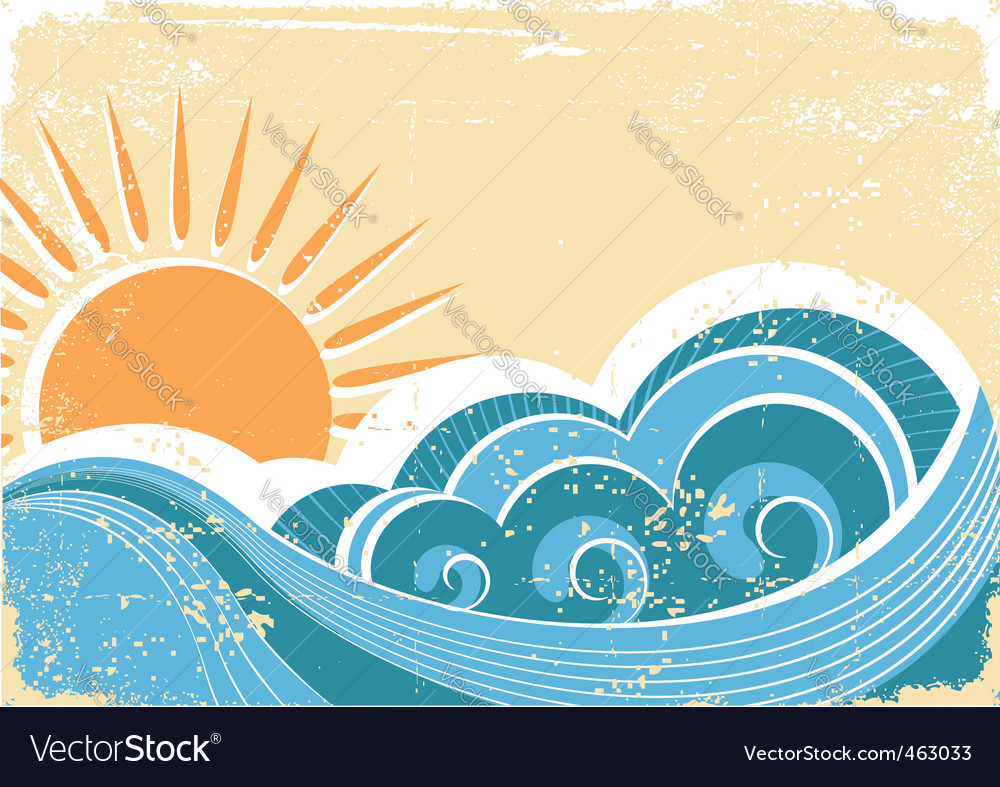 Vintage waves vector | Price: 1 Credit (USD $1)
