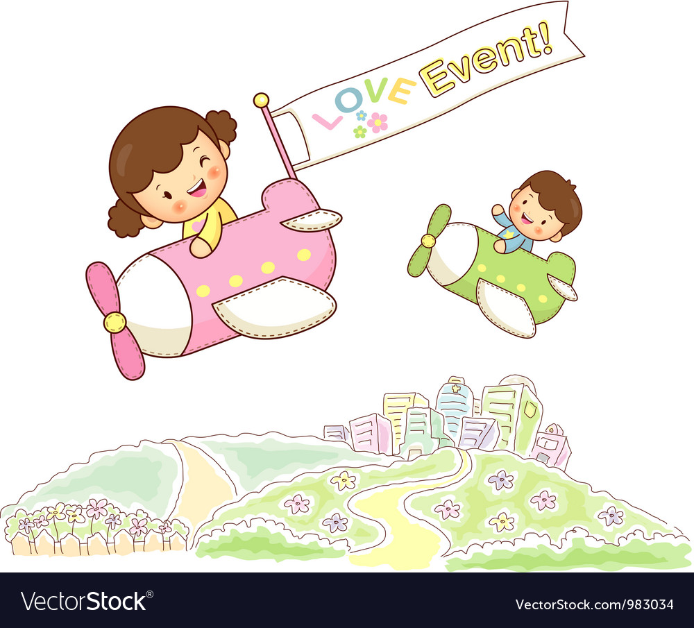 Children sky travel vector | Price: 3 Credit (USD $3)