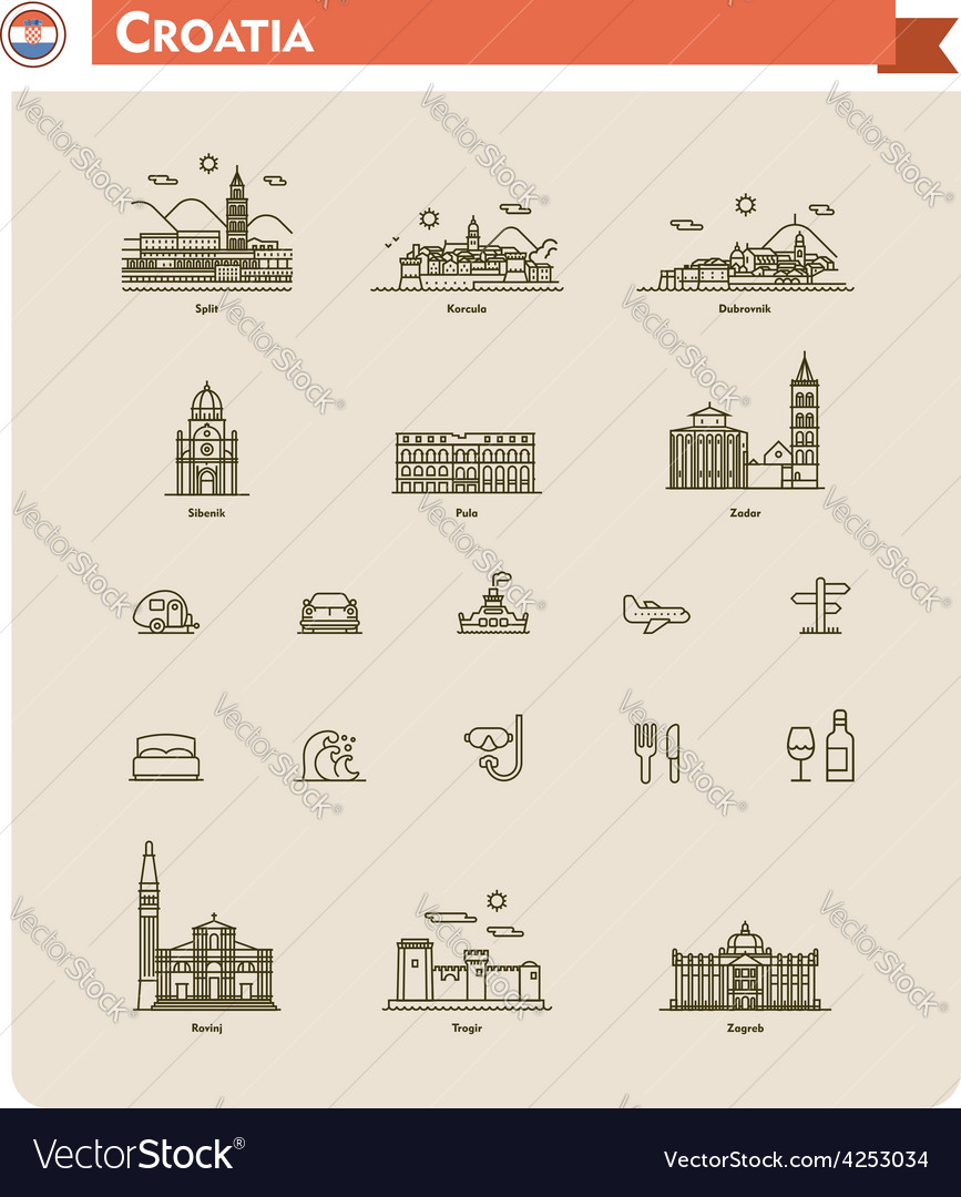 Croatia travel icon set vector | Price: 1 Credit (USD $1)