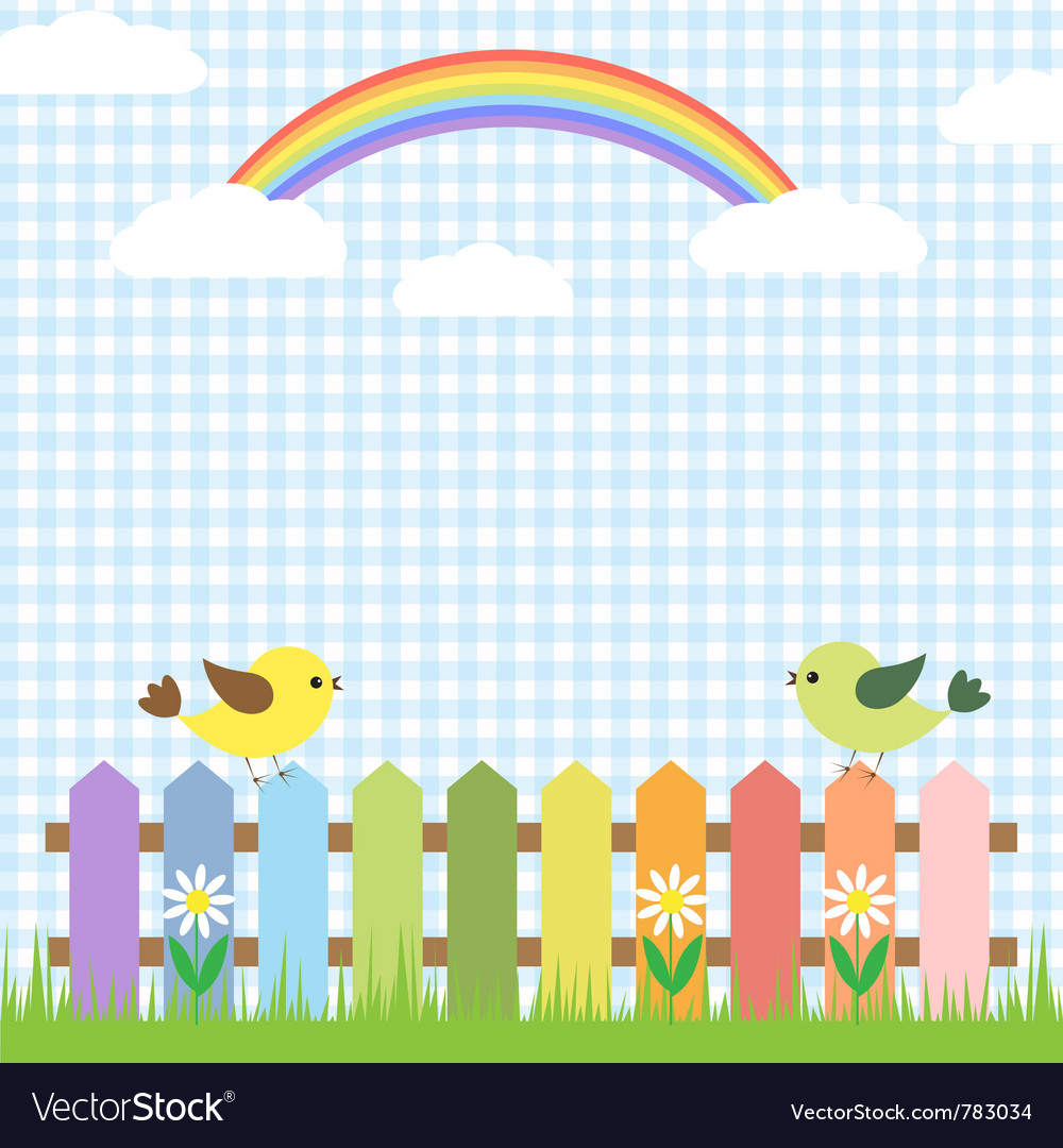 Cute birds and rainbow vector
