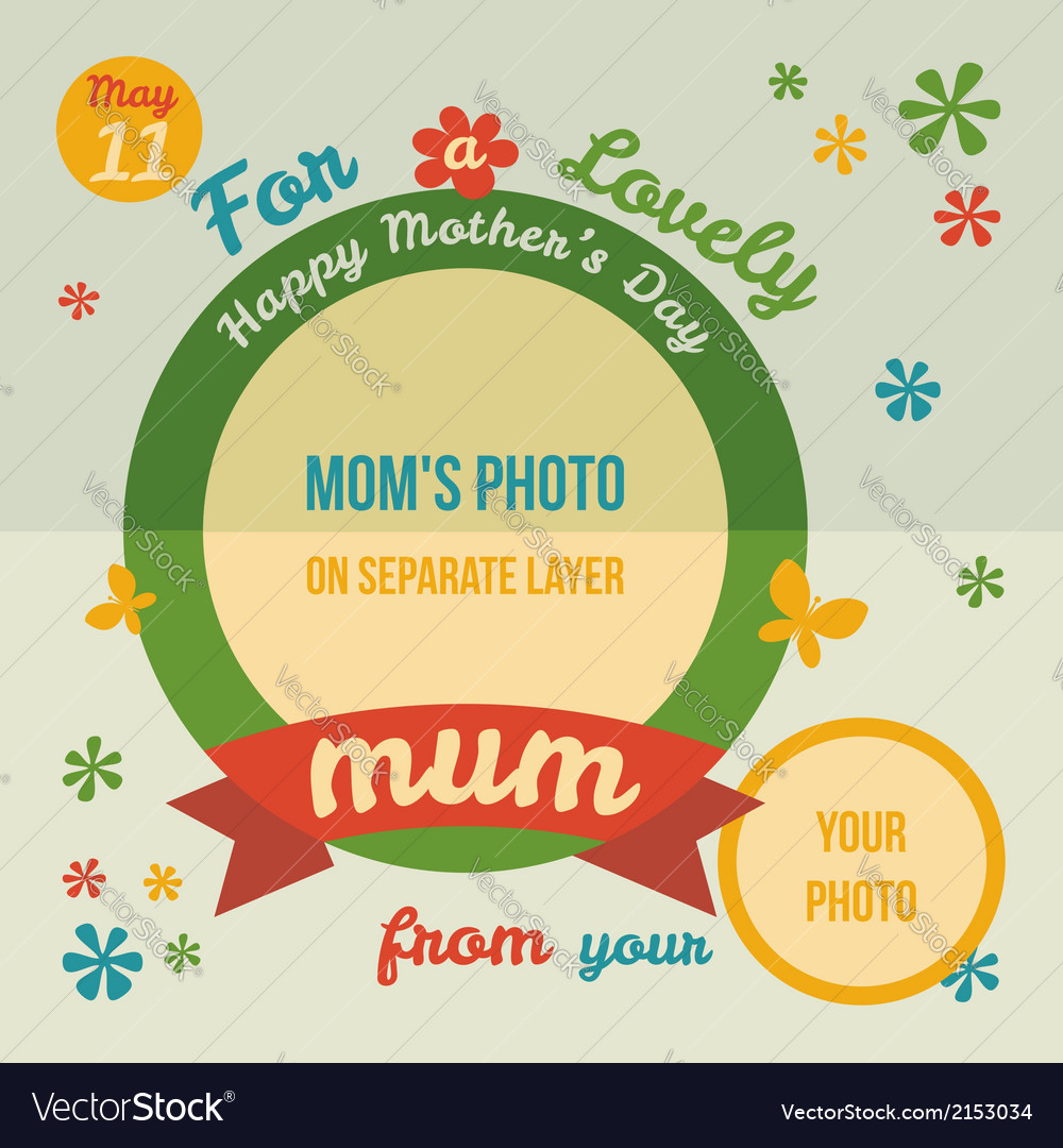 For a lovely mum greeting card flat design vector | Price: 1 Credit (USD $1)