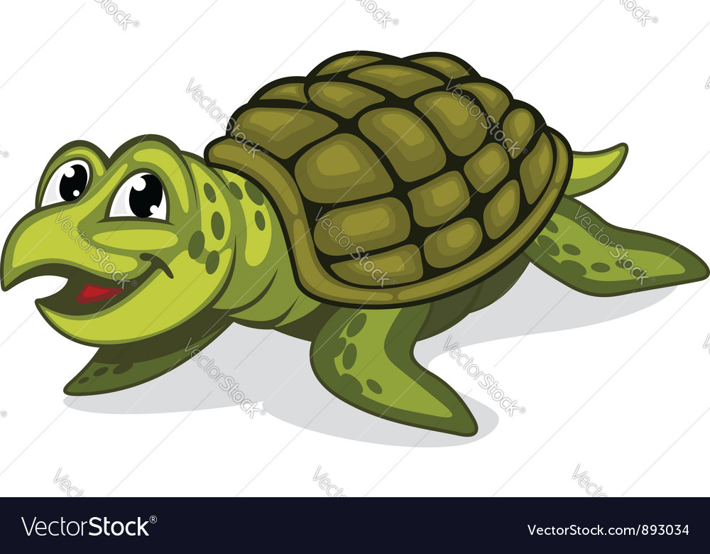 Green smiling turtle reptile vector | Price: 1 Credit (USD $1)