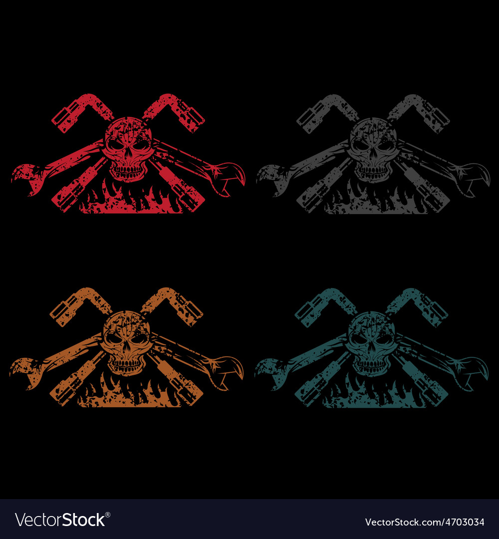 Grunge crest with skullflame and spanners vector   Price: 1 Credit (USD $1)