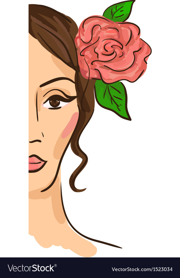Half face woman vector | Price: 1 Credit (USD $1)