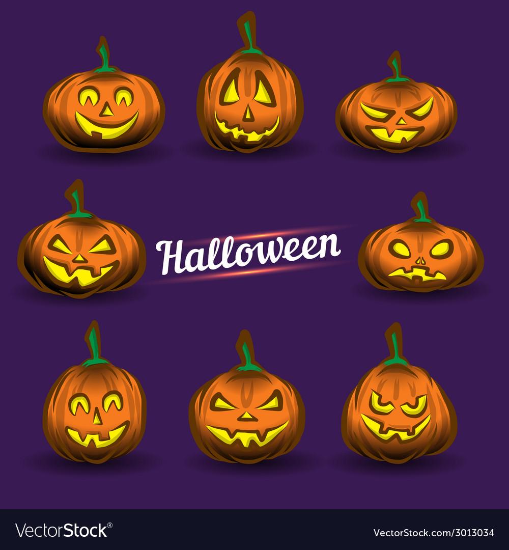 Halloween pumpkins set vector   Price: 1 Credit (USD $1)