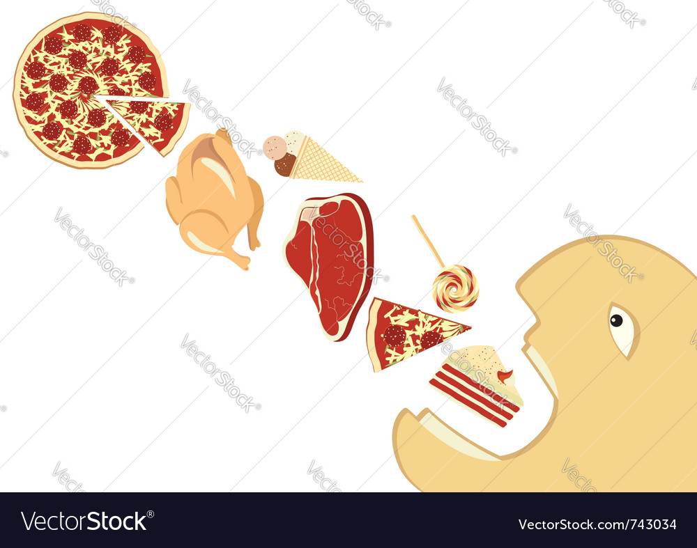 Hungry man eating vector | Price: 1 Credit (USD $1)